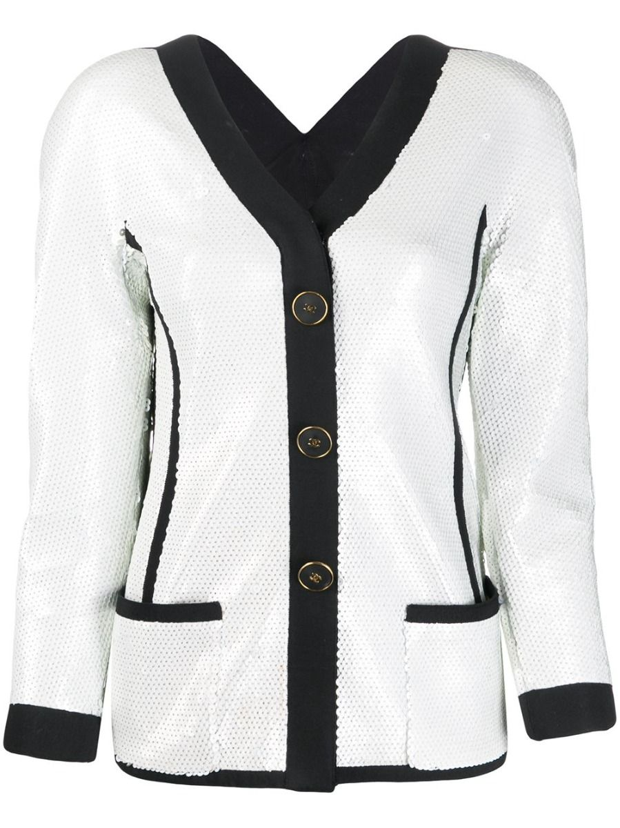 chanel white sequin scuba jacket