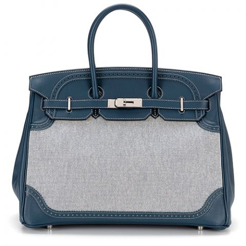 Hermès Limited Edition Bleu de Prusse Swift 35 Birkin Bag
