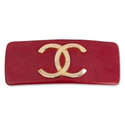 Chanel Red CC Logo Hair Barette