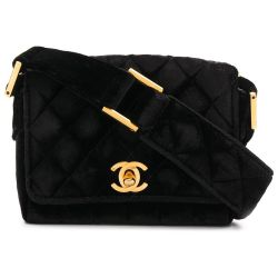 Chanel Black Velvet Mini Shoulder Bag