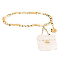 Chanel White Micro Bag Chain Belt SOLD