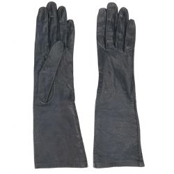 Yves Saint Laurent Rive Gauche Navy Leather Gloves