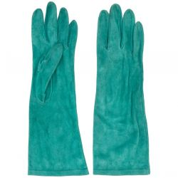 Yves Saint Laurent Rive Gauche Green Suede Gloves