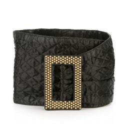 Yves Saint Laurent Gold-Studded Black Leather Belt