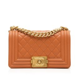 Chanel Orange Leather Small Boy Flap Handbag