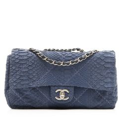 Chanel Blue Python Leather 2.55 Flap Handbag