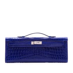 Hermes Electric Blue Niloticus Crocodile Cut Pochette Clutch
