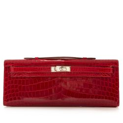 Hermes Braise Red Kelly Cut in shiny Porosus Crocodile withsilver hardware