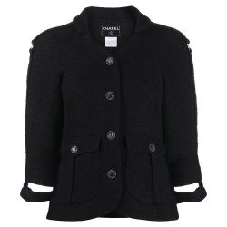 Chanel Cut-off Cuffs Tweed Jacket