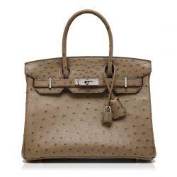 Hermès Brown Ostrich 30cm Birkin Bag
