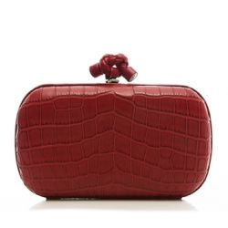 Bottega Veneta Red Crocodile Box Clutch