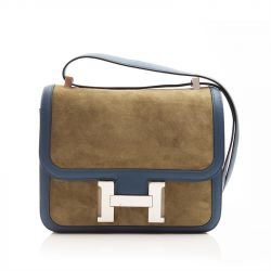 Hermes Tilleul / Bleu de Galice Two-Tone Suede Constance Shoulder Bag