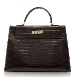 Hermes Dark Brown Porosus Crocodile Kelly Silver Stitching 35cm