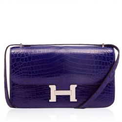 Hermes Electric Blue Alligator Constance Clutch Wallet 24cm SOLD