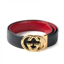 Gucci Vintage Black Leather Buckle Belt