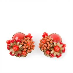 Stanley Hagler 1950s Beaded Floral Earrings