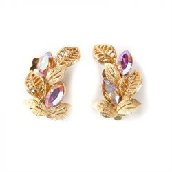 1950s Vintage Cut Glass Detail Leaf Earrings