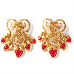 Chanel Vintage Heart Clip-on Earrings