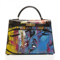 Customised Emotional Baggage 'Graffiti Kiss' Vintage Hermes Kelly Bag