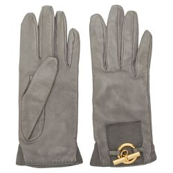 Hermès Mouse Grey Leather Gloves
