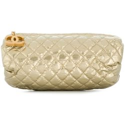 Chanel Gold Quilted Clutch Bag