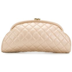 Chanel Quilted Champagne Half-Moon Clutch Bag