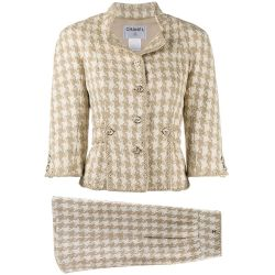 Chanel Ecru & Beige Silk Tweed Twinset