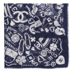 Chanel Off-White 'Splash CC' Print Scarf
