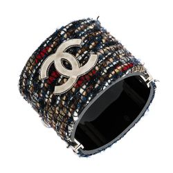 Chanel Boucle Tweed CC Cuff Bracelet