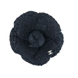 Chanel Navy Cotton Camelia Corsage Brooch
