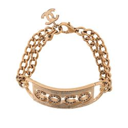 Chanel Double Loop Chain Coco Logo Bracelet