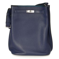 Hermes So Kelly Blue Leather Bag
