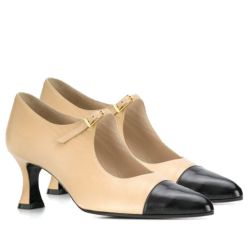 Chanel Beige & Black Pointed Pumps SOLD