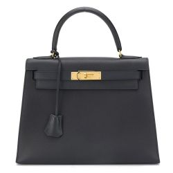 Hermès Blue Marine Courcheval 28cm Kelly Bag