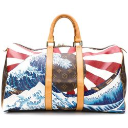 Customised Louis Vuitton 'Japanese Wave' Monogram Keepall Bag