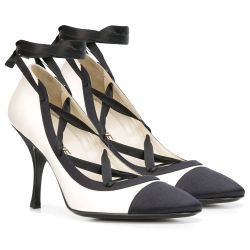 Chanel Silk & Leather Lace-Up Pumps