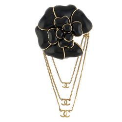 Chanel Black Enamel Rose Motif Brooch