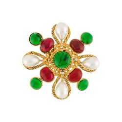 Chanel Gripoix Glass Maltese Cross Brooch SOLD