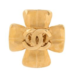 Chanel Gold Maltese Cross Brooch