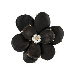 Chanel Black Wooden Flower Petals Brooch