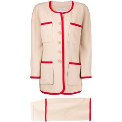 Chanel Cream & Red Skirt Suit