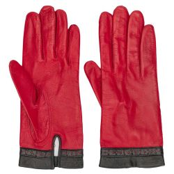 Céline Red Leather Gloves