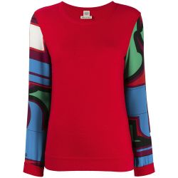 Hermès Red Printed Silk Sleeve Top