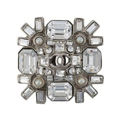 Chanel Crystal Embellished CC Brooch