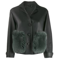 Burberry Fur Trimmed Leather Jacket