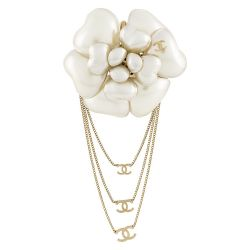 Chanel Cream Enamel Rose Motif Brooch SOLD