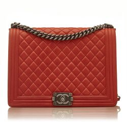 Chanel Quilted Red Boy Shoulder Bag