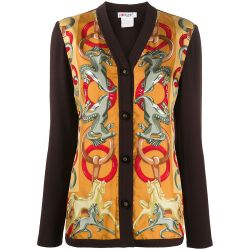 Céline Brown Wool Printed Cardigan