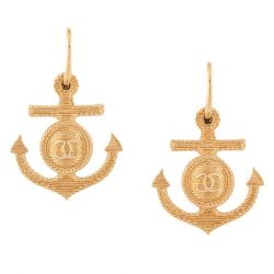 Chanel Gold Anchor CC Earrings