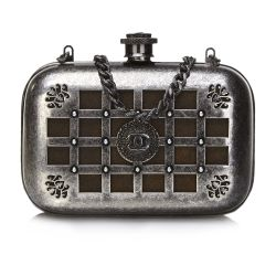Chanel Gunmetal and Suede Minaudiere